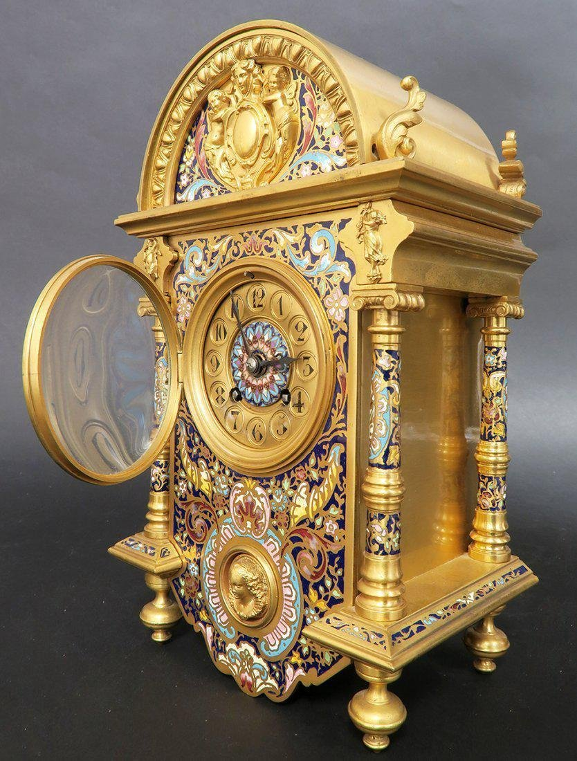 Exceptional French Bronze & Champleve Enamel Clock - 3