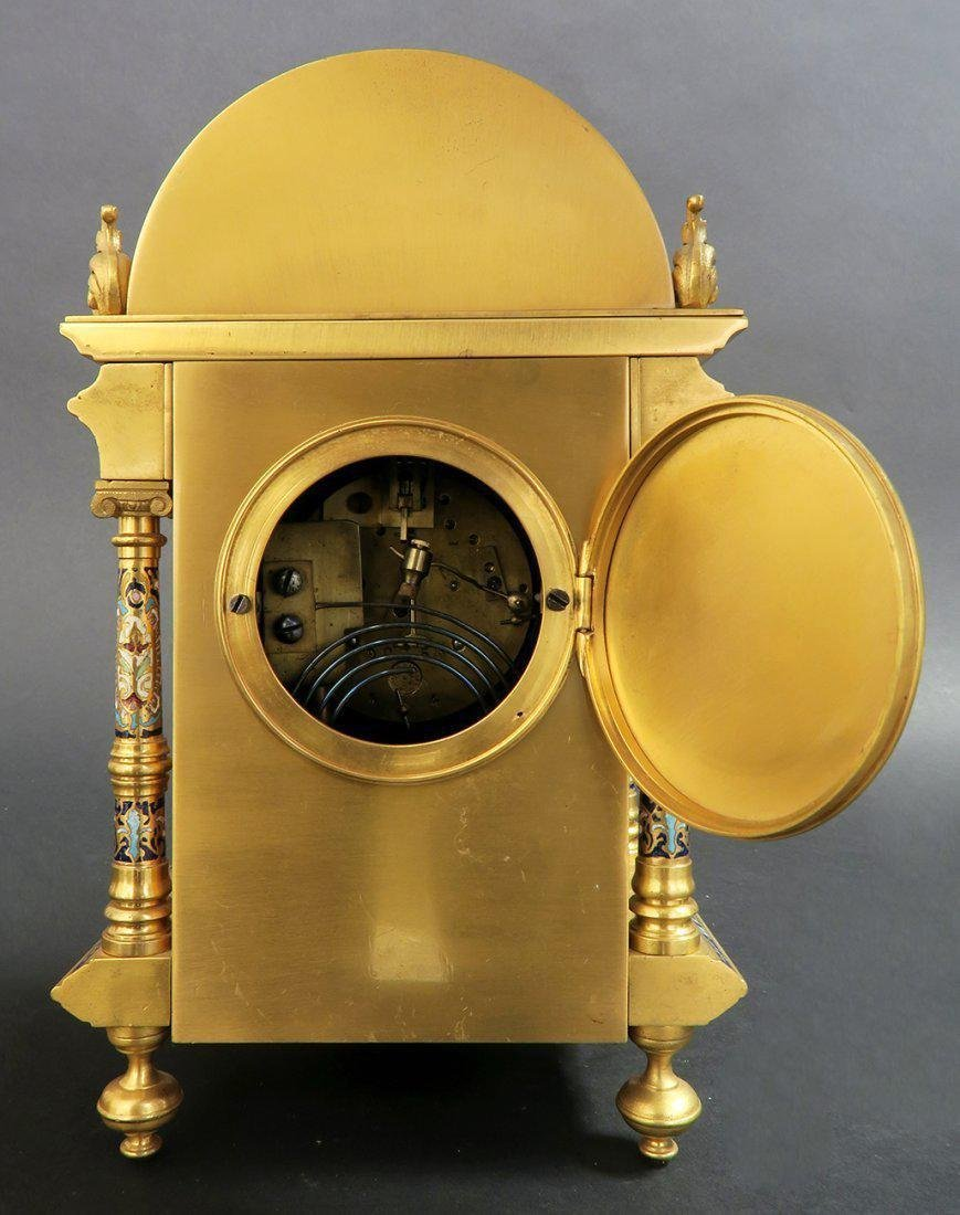 Exceptional French Bronze & Champleve Enamel Clock - 5