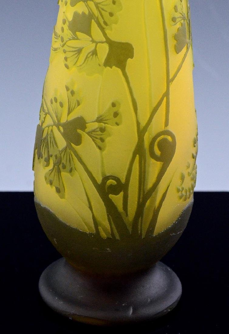 SIGNED GALLE CAMEO CUT ART GLASS FLOWER PATTERN VASE - 7