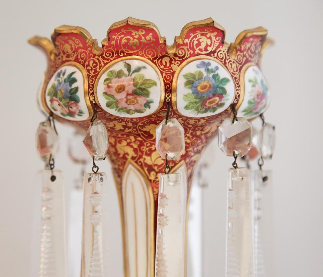Pair of 19th C. Bohemian Hand Painted Lusters - 2