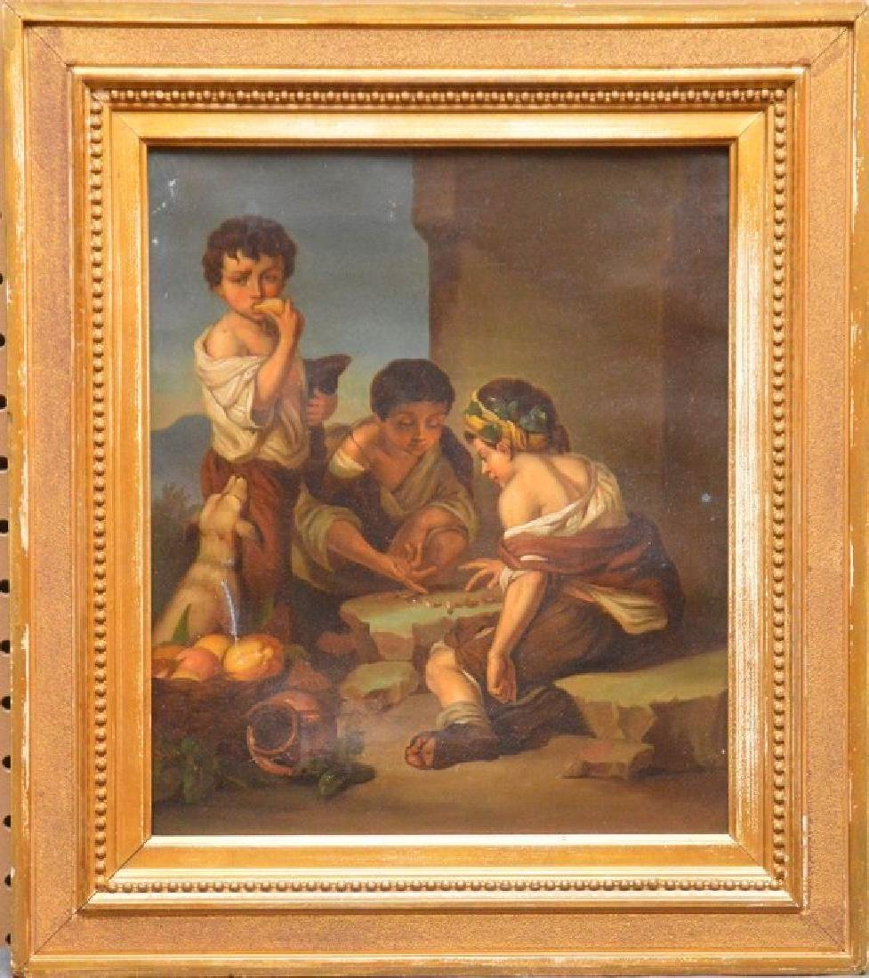 """19th Century oil on canvas, Children """"Game Time"""""""