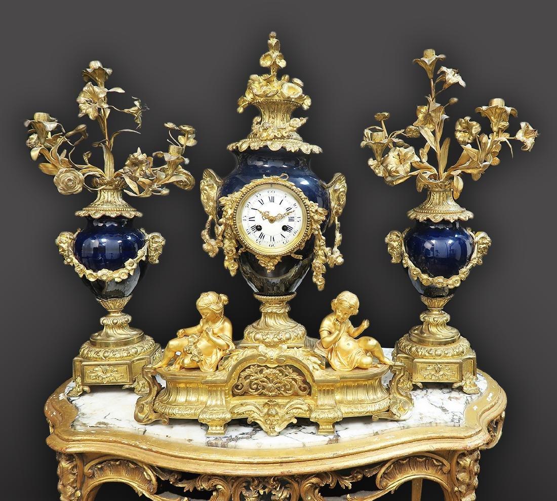 Large French Figural Bronze & Porcelain Clock Set