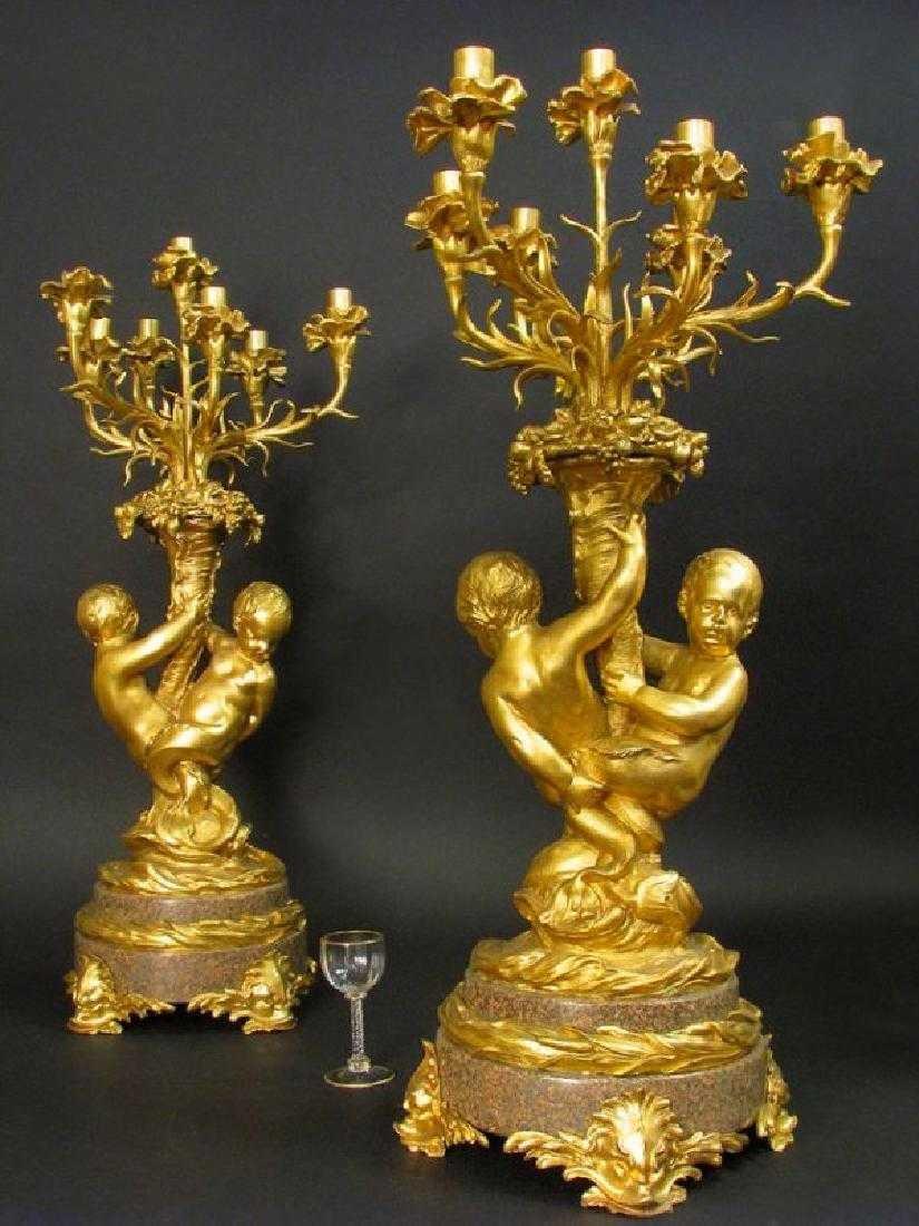 Massive Gilt Bronze & Rouge Marble 7 light Candelabras