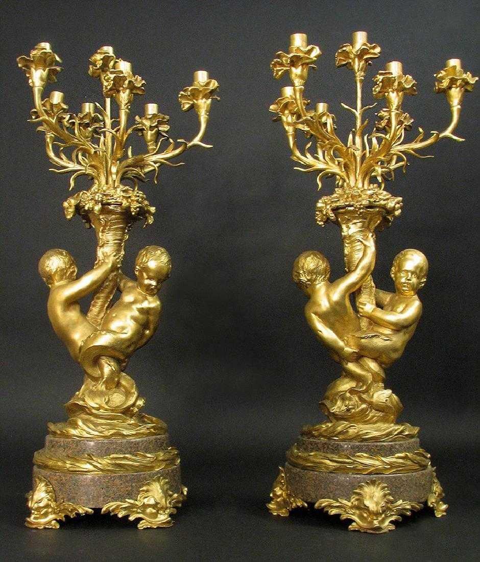 Massive Gilt Bronze & Rouge Marble 7 light Candelabras - 2