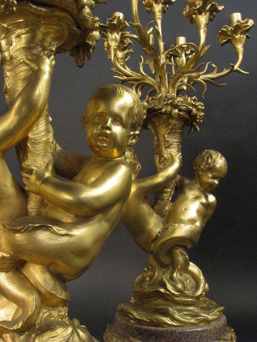 Massive Gilt Bronze & Rouge Marble 7 light Candelabras - 5