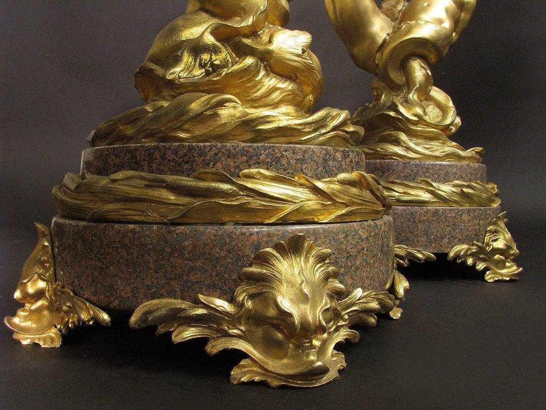 Massive Gilt Bronze & Rouge Marble 7 light Candelabras - 6