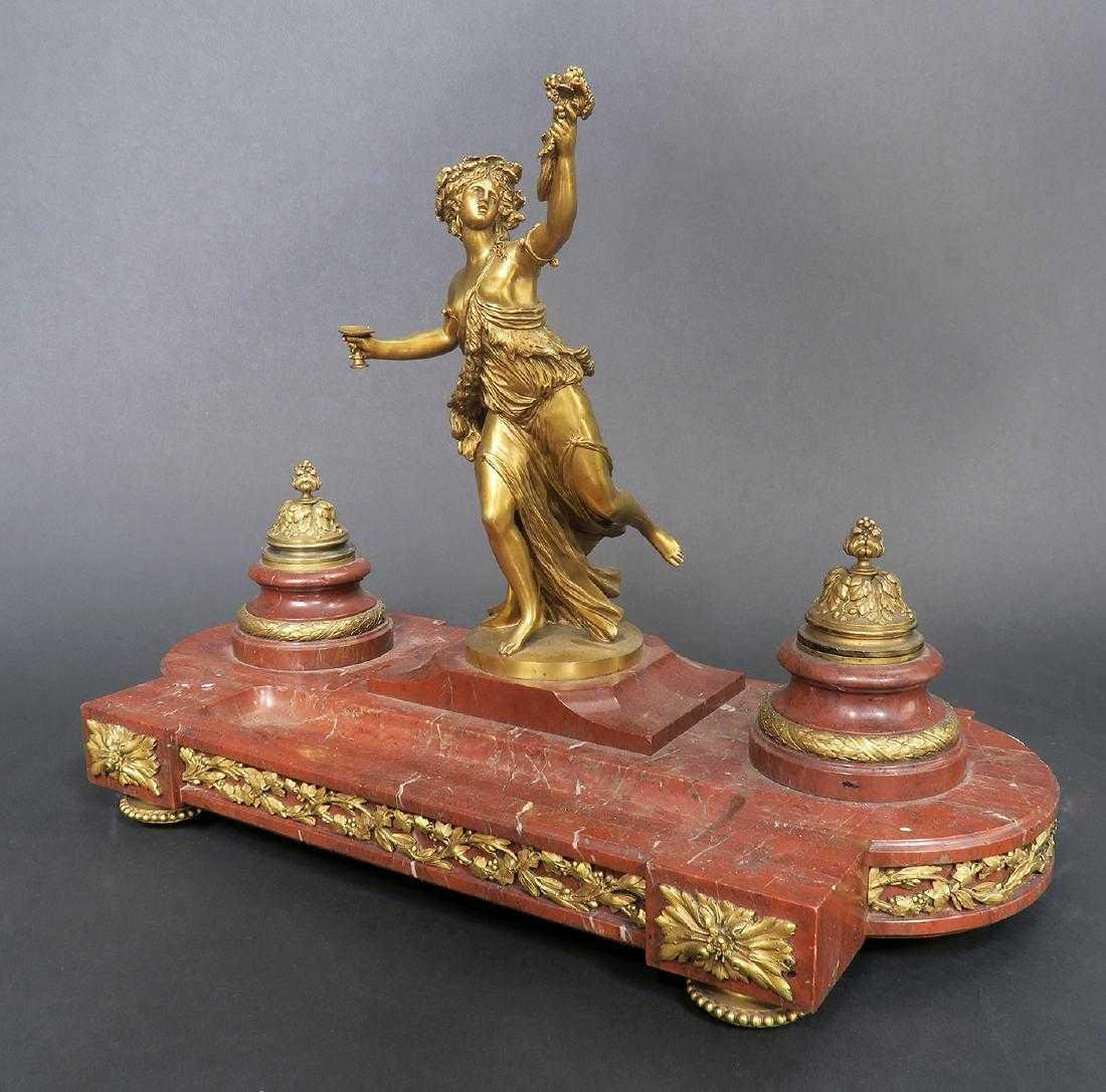 French Marble and Figural Bronze Inkwell, 19th C. - 3