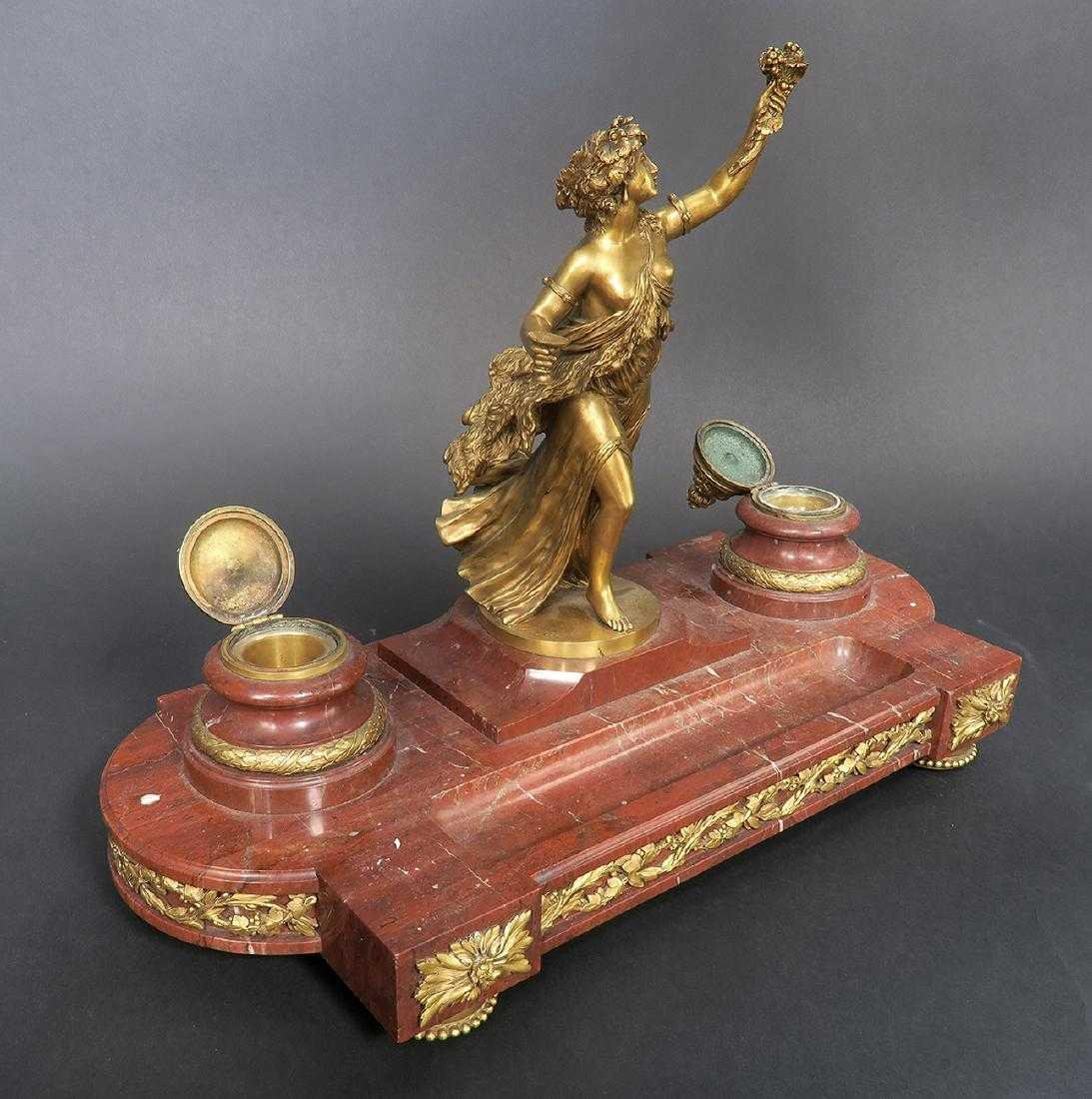 French Marble and Figural Bronze Inkwell, 19th C. - 7