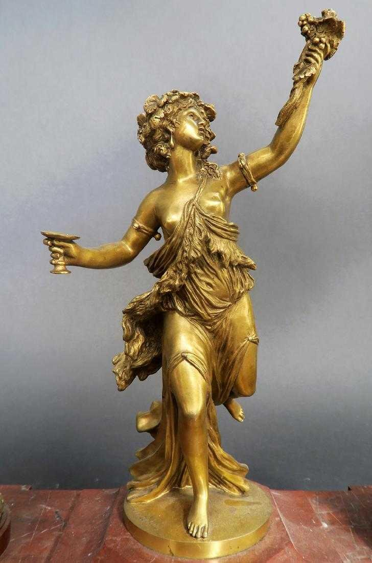 French Marble and Figural Bronze Inkwell, 19th C. - 8