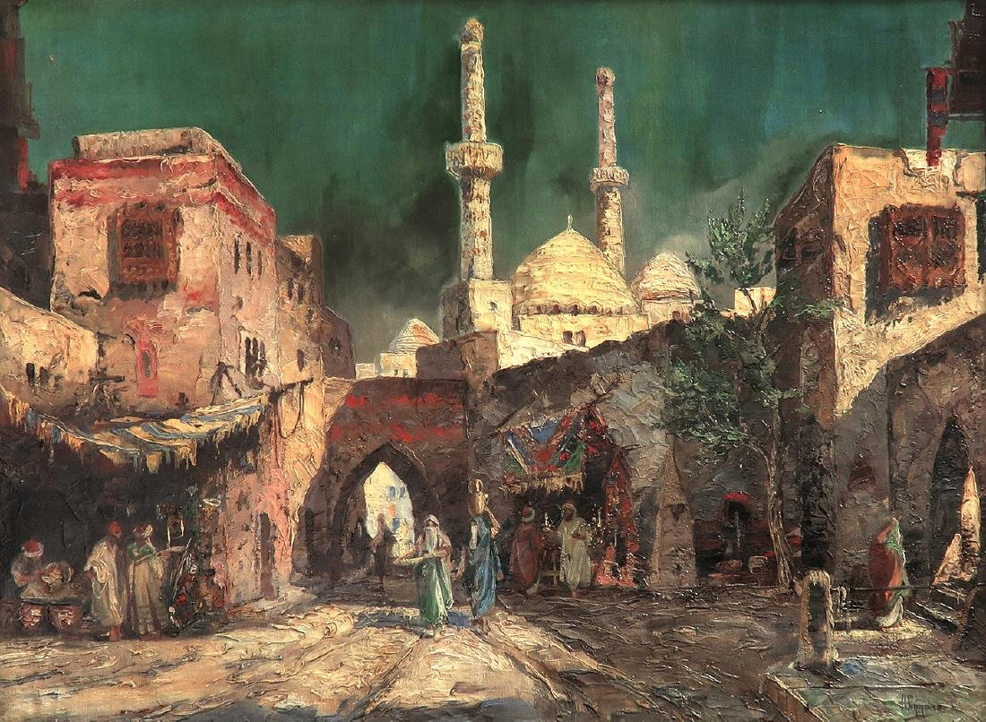 """Oil On Canvas Orientalist Painting By """"H.Pizzaro"""" - 2"""