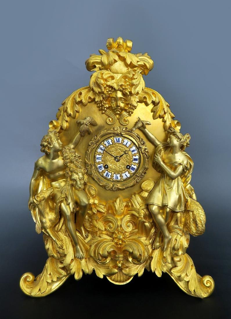 Gilt Bronze mantel French Clock Signed Deniere A Paris