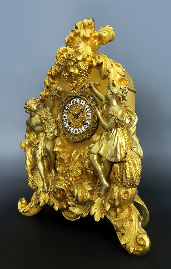 Gilt Bronze mantel French Clock Signed Deniere A Paris - 2