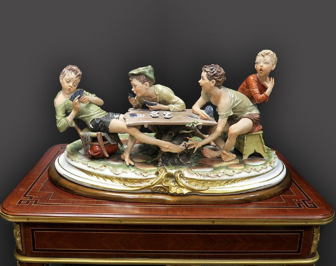 """Large """"Capodimonte"""" Group of Children Signed """"Merlin"""""""