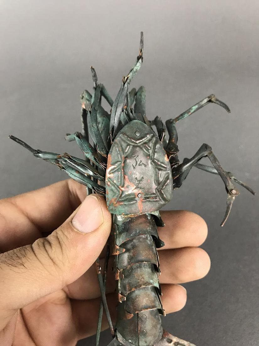 A Japanese Articulated Copper Model of Crab, Signed! - 6