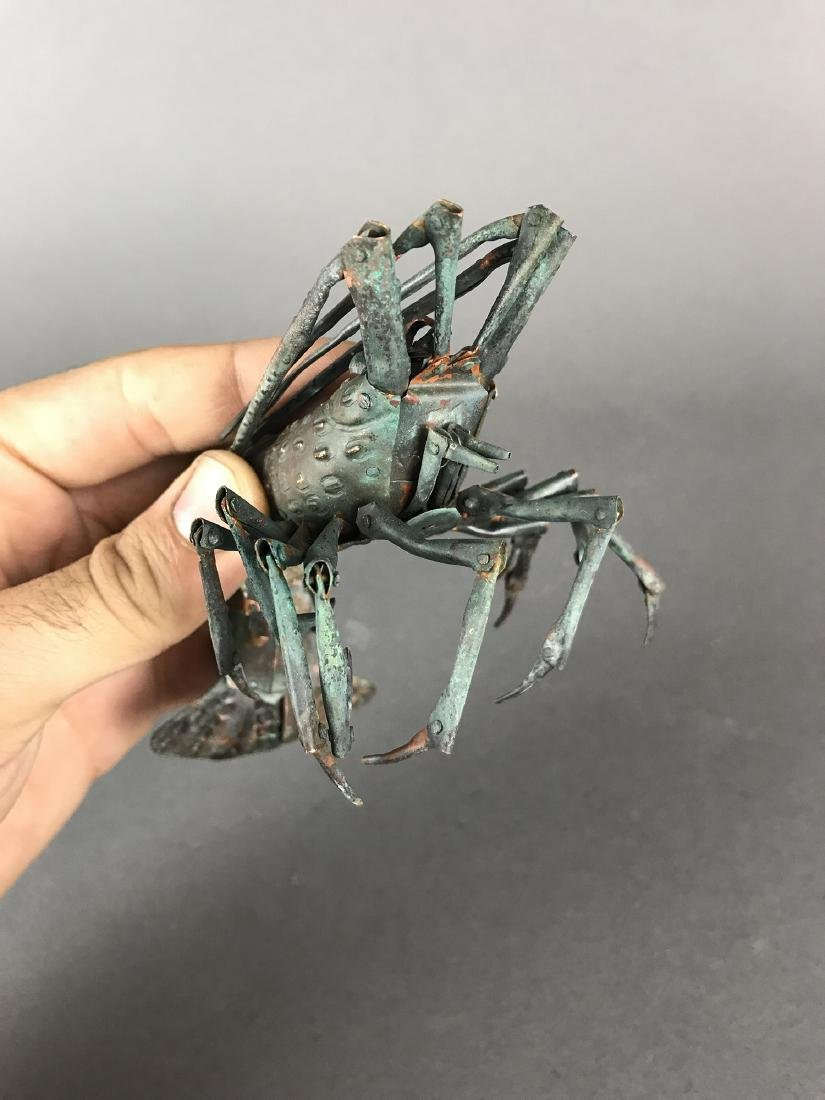 A Japanese Articulated Copper Model of Crab, Signed! - 7