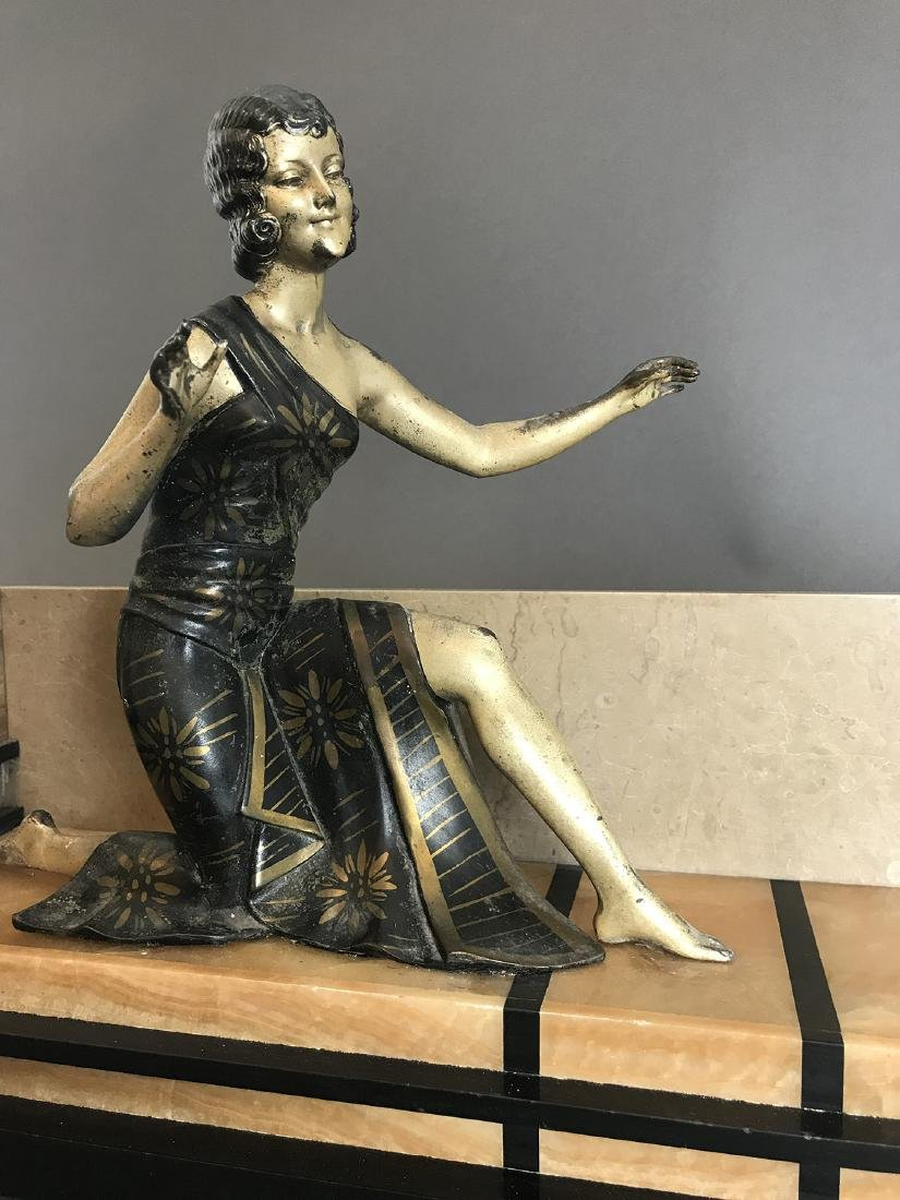 After D.H.Chiparus Seated Lady & Dog Sculpture Signed - 2