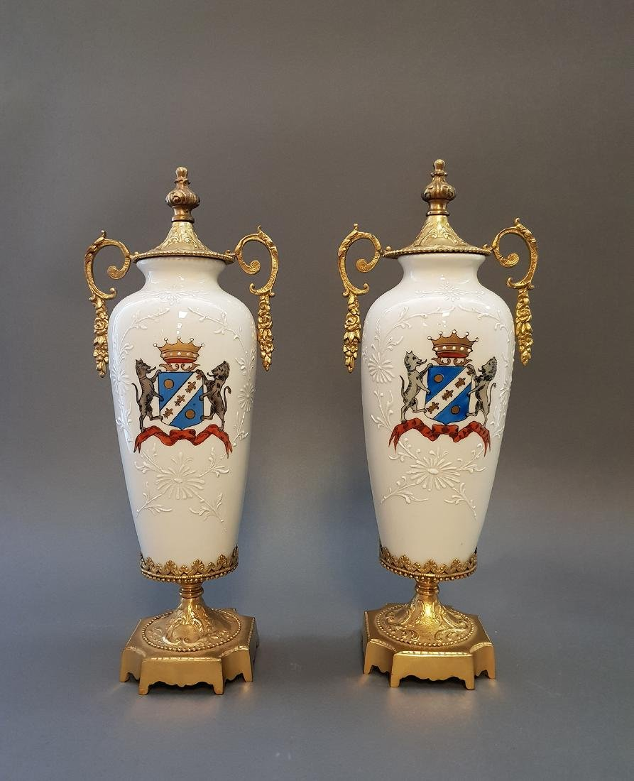A Pair Of Continental Empire Bronze & Porcelain Urns