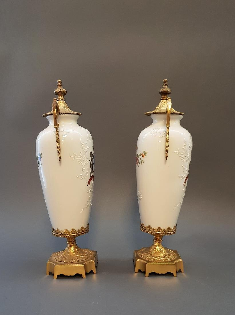 A Pair Of Continental Empire Bronze & Porcelain Urns - 2
