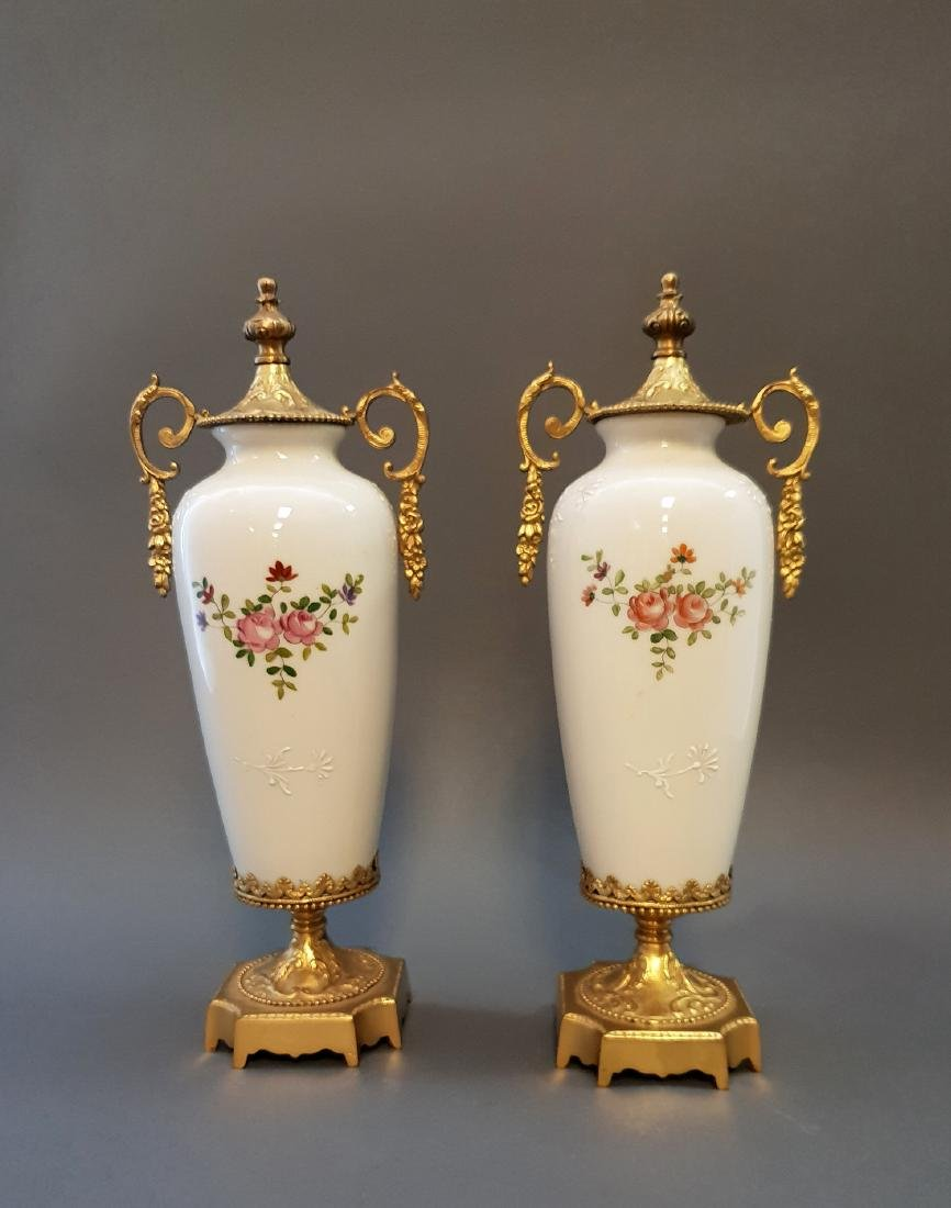 A Pair Of Continental Empire Bronze & Porcelain Urns - 3