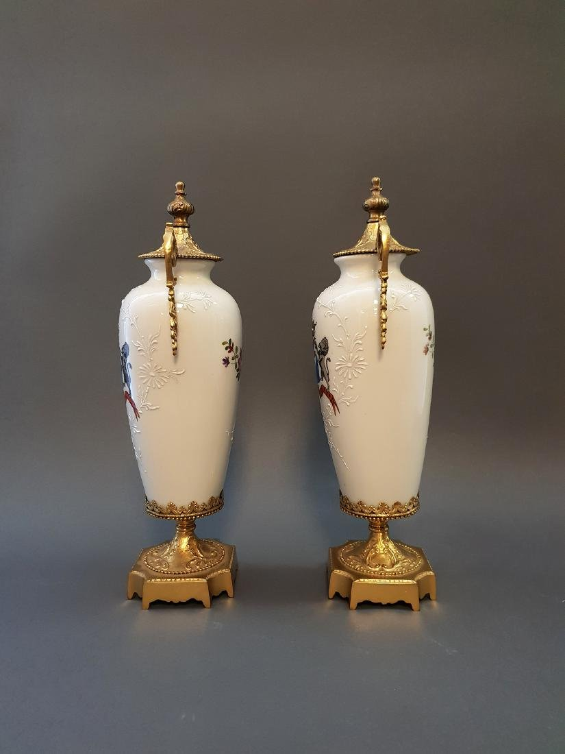A Pair Of Continental Empire Bronze & Porcelain Urns - 4