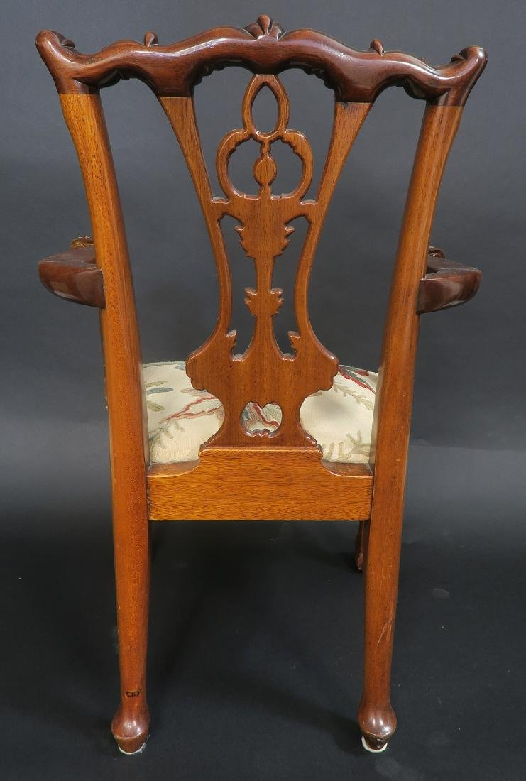 Solid Mahogany Hand Carved Childs Arm Chair - 4