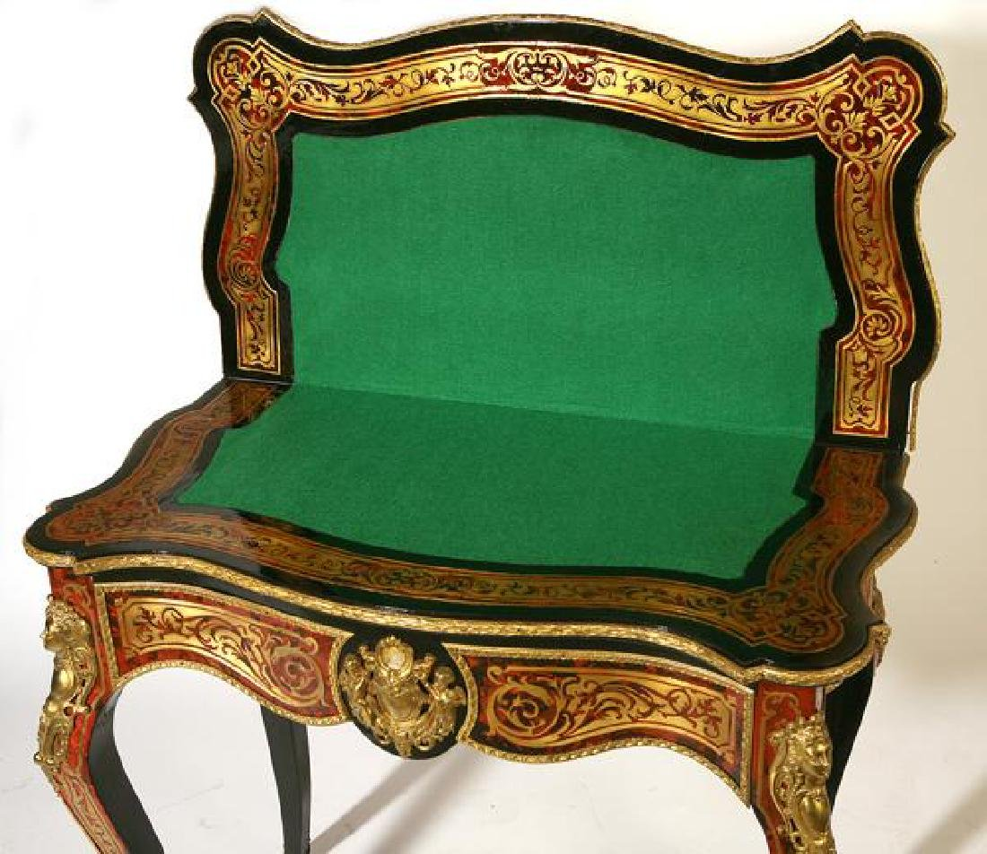 Exceptional 19th C. French lacquered boulle game table - 2