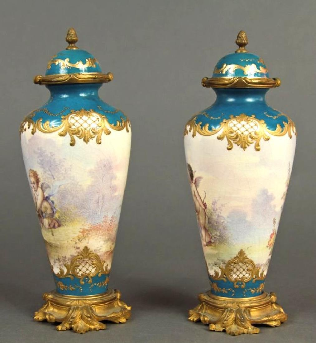 19th C. French Pair of Bronze & Sevres Porcelain Urns - 2