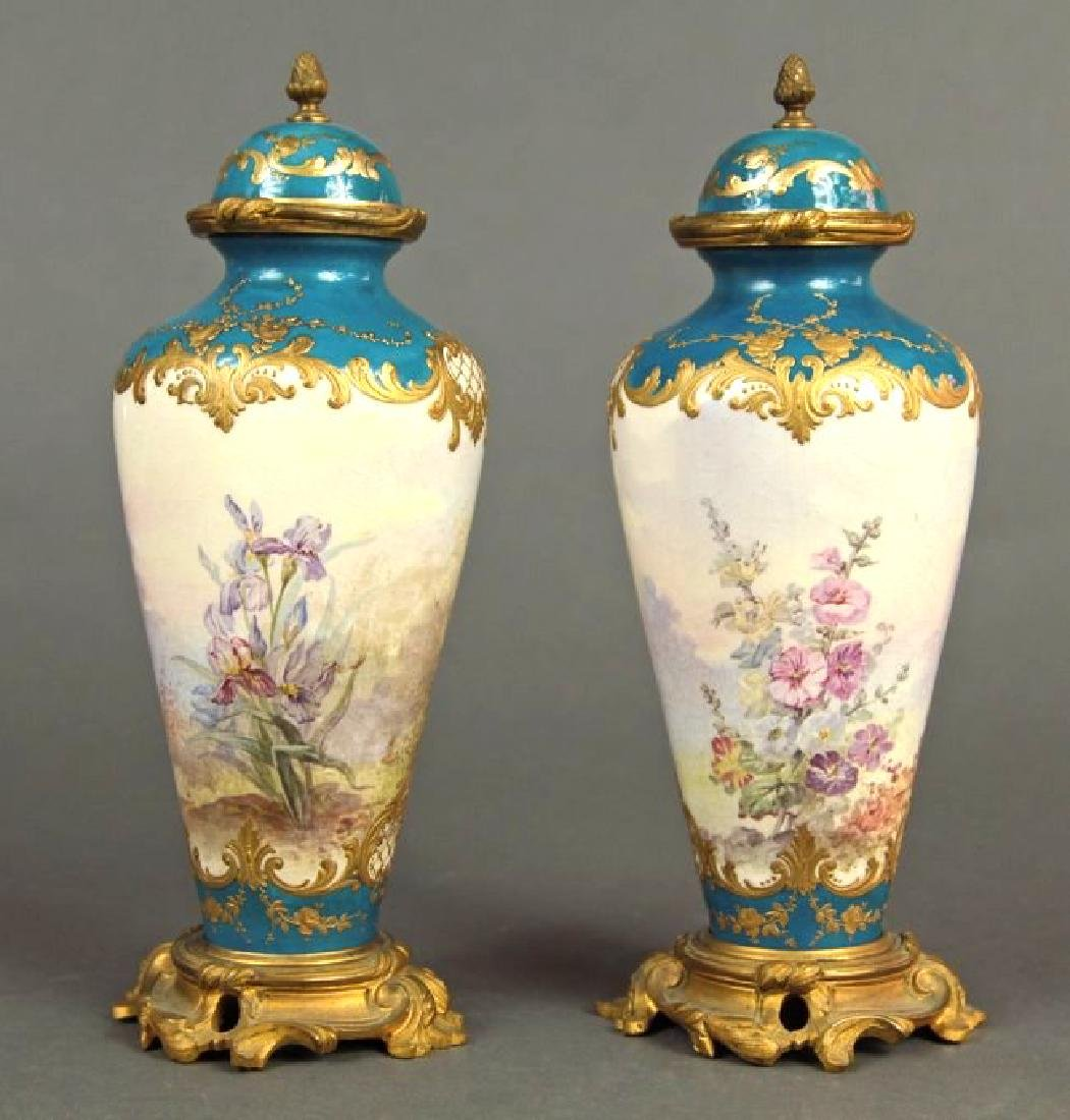 19th C. French Pair of Bronze & Sevres Porcelain Urns - 3