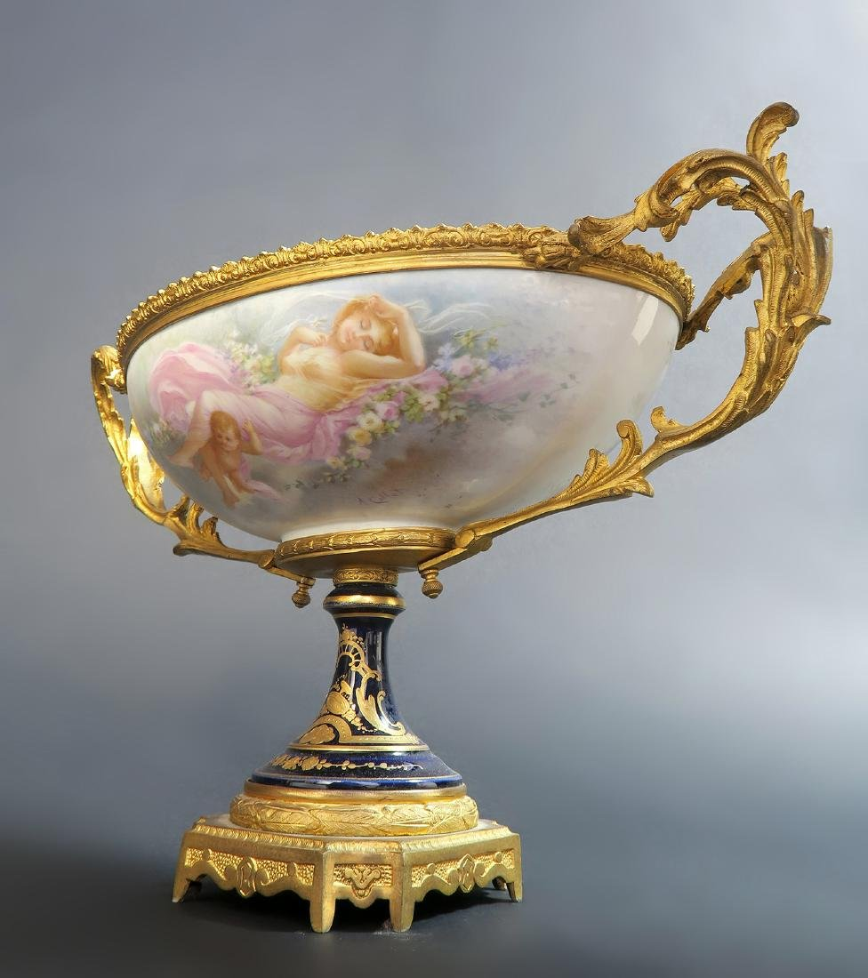 19th C. French Bronze Mounted Sevres Centerpiece - 3