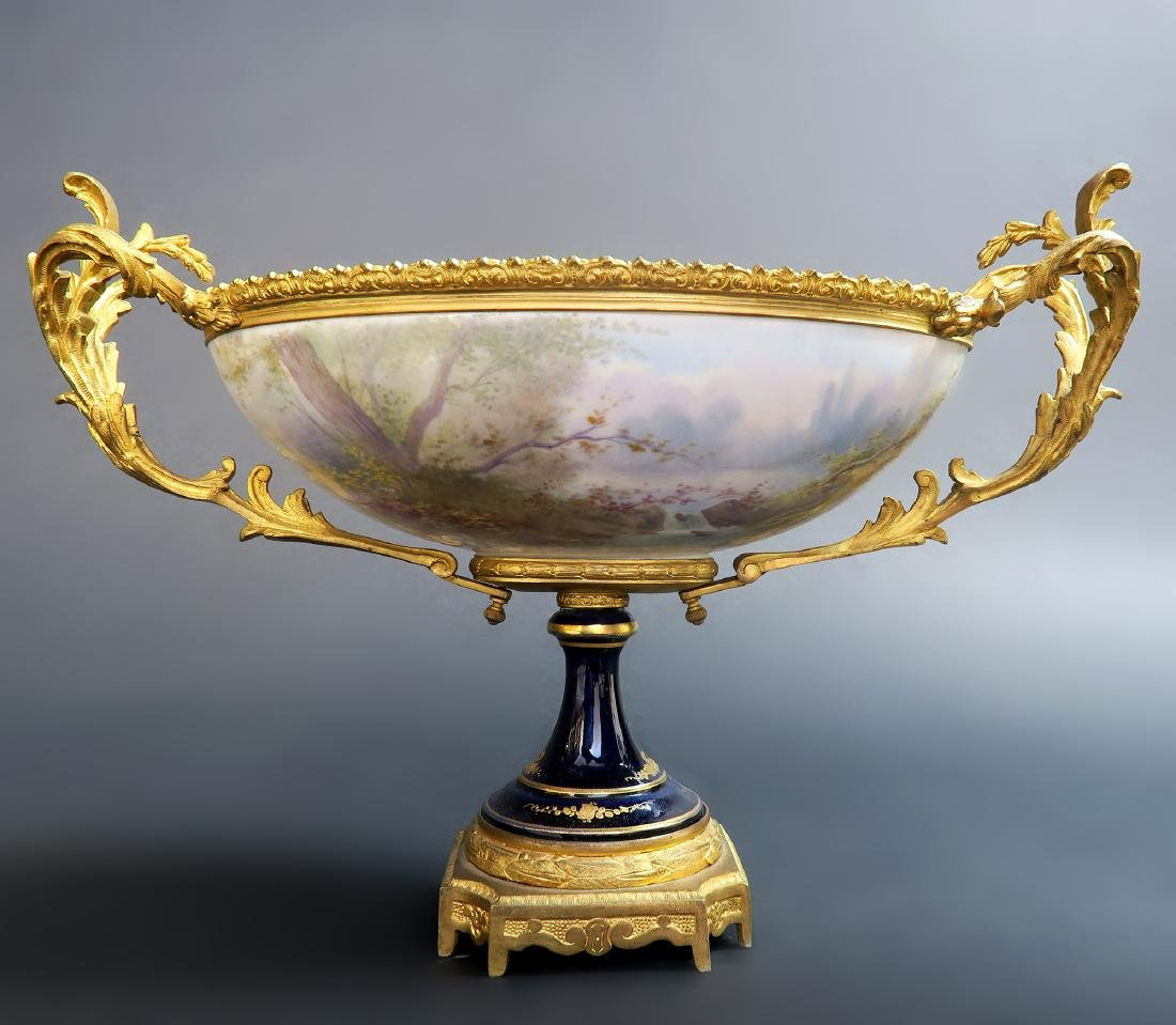 19th C. French Bronze Mounted Sevres Centerpiece - 4