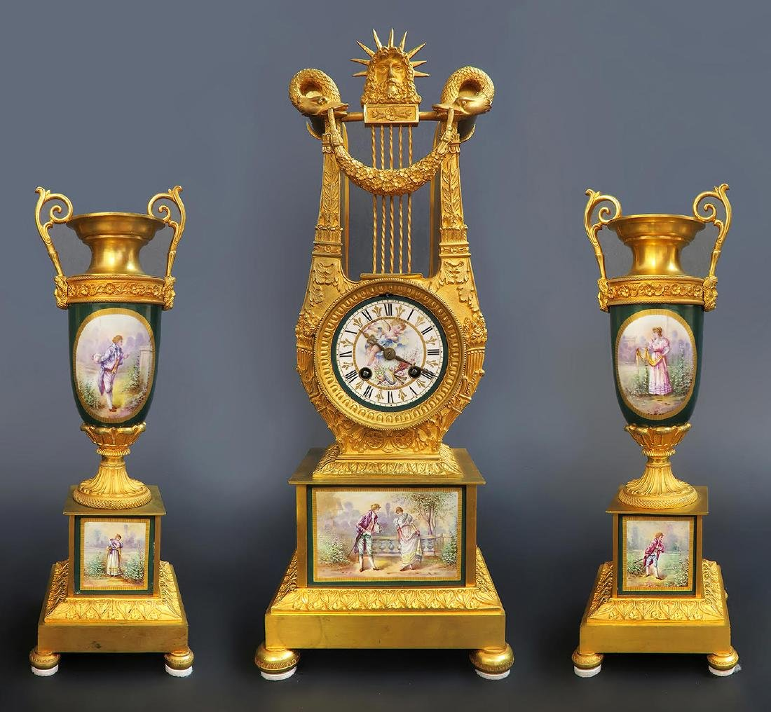 19th C French Sevres Clock Set