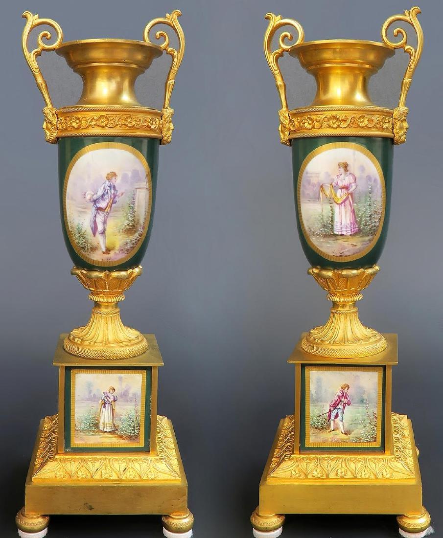 19th C French Sevres Clock Set - 2