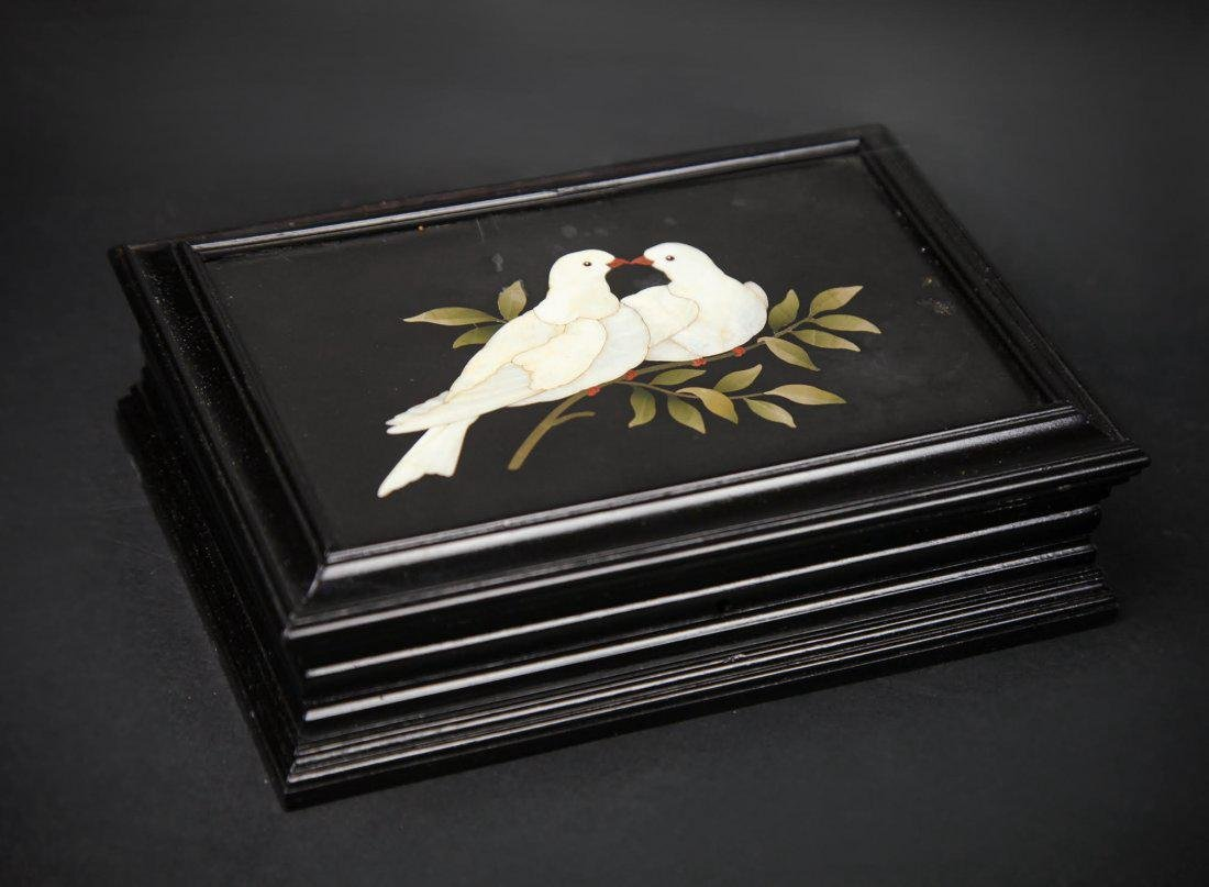 "Italian Pietra Dura ""Two Doves On a Branch"""