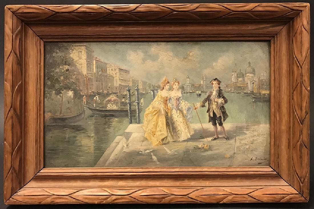 """19th C. French Oil on Board signed """"L. Durios"""""""