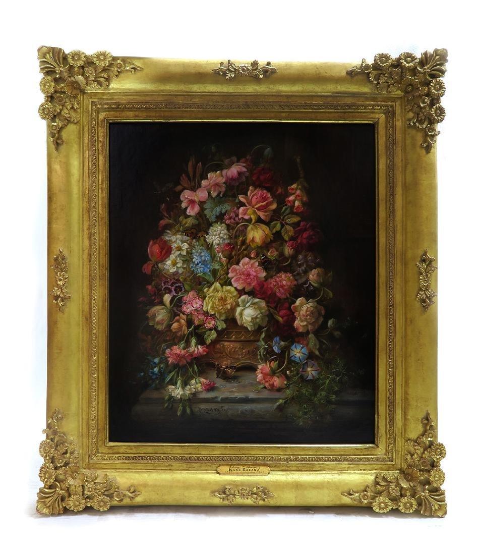 """A Still Life With Flowers"" Hans Zatzka Oil on Canvas"