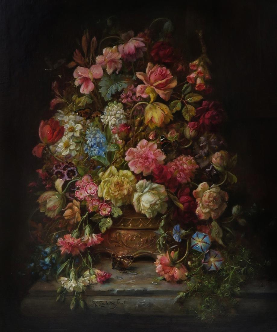 """A Still Life With Flowers"" Hans Zatzka Oil on Canvas - 2"