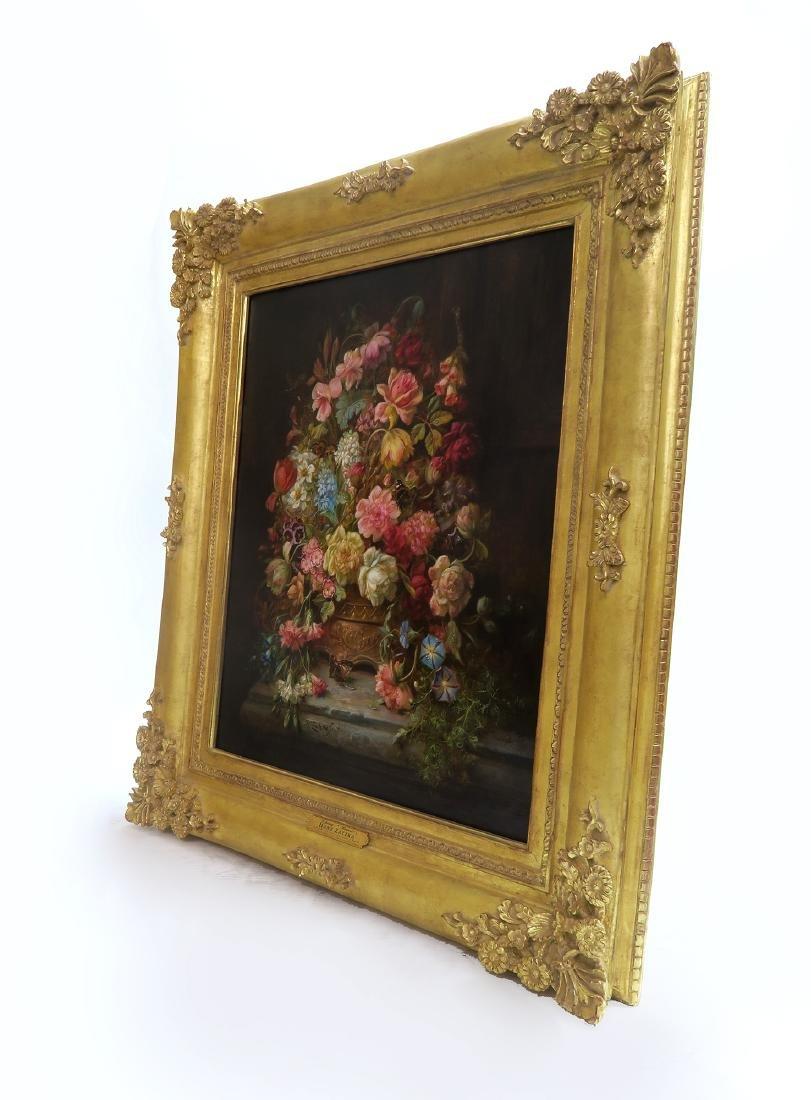 """A Still Life With Flowers"" Hans Zatzka Oil on Canvas - 3"