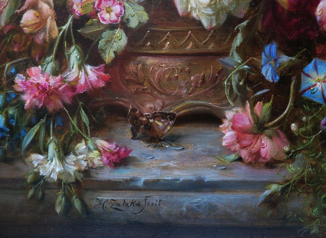 """A Still Life With Flowers"" Hans Zatzka Oil on Canvas - 4"