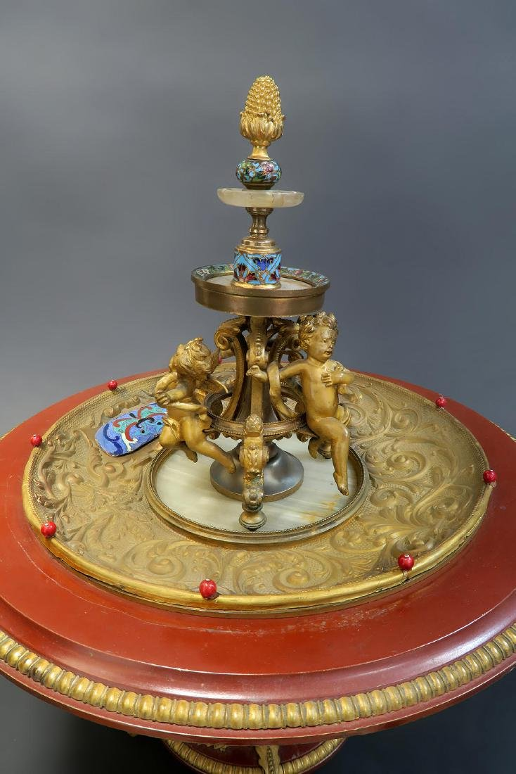 19th C. French Enamel Bronze figural Centerpiece - 3