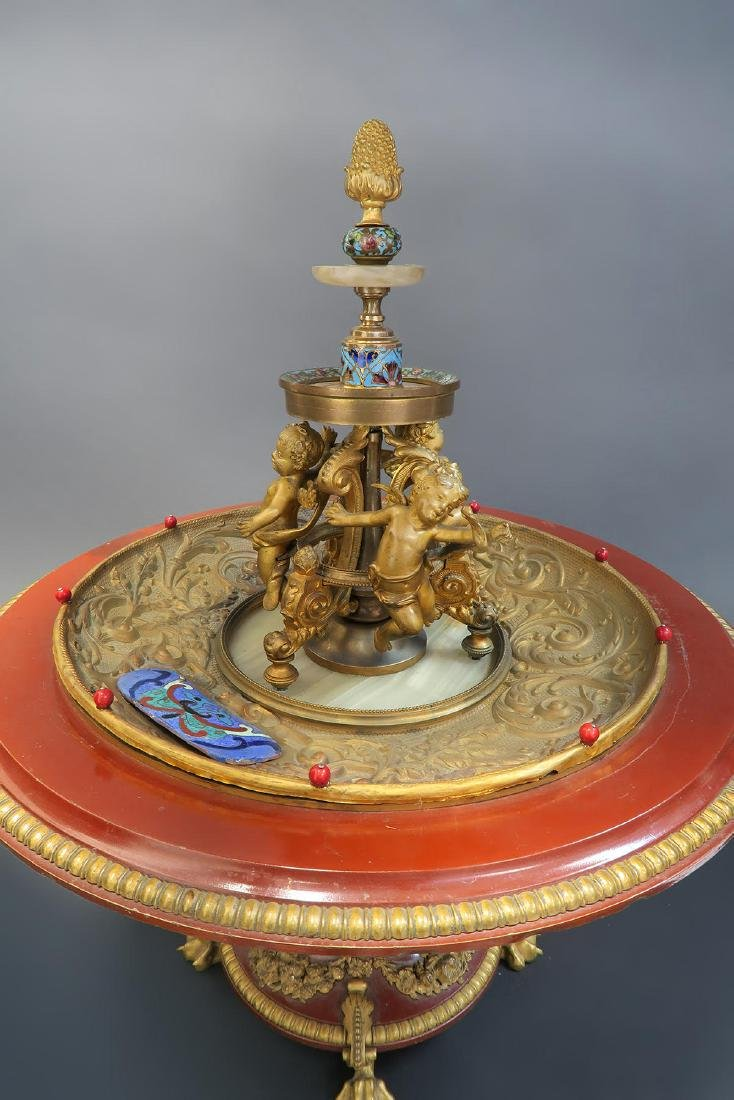 19th C. French Enamel Bronze figural Centerpiece - 4