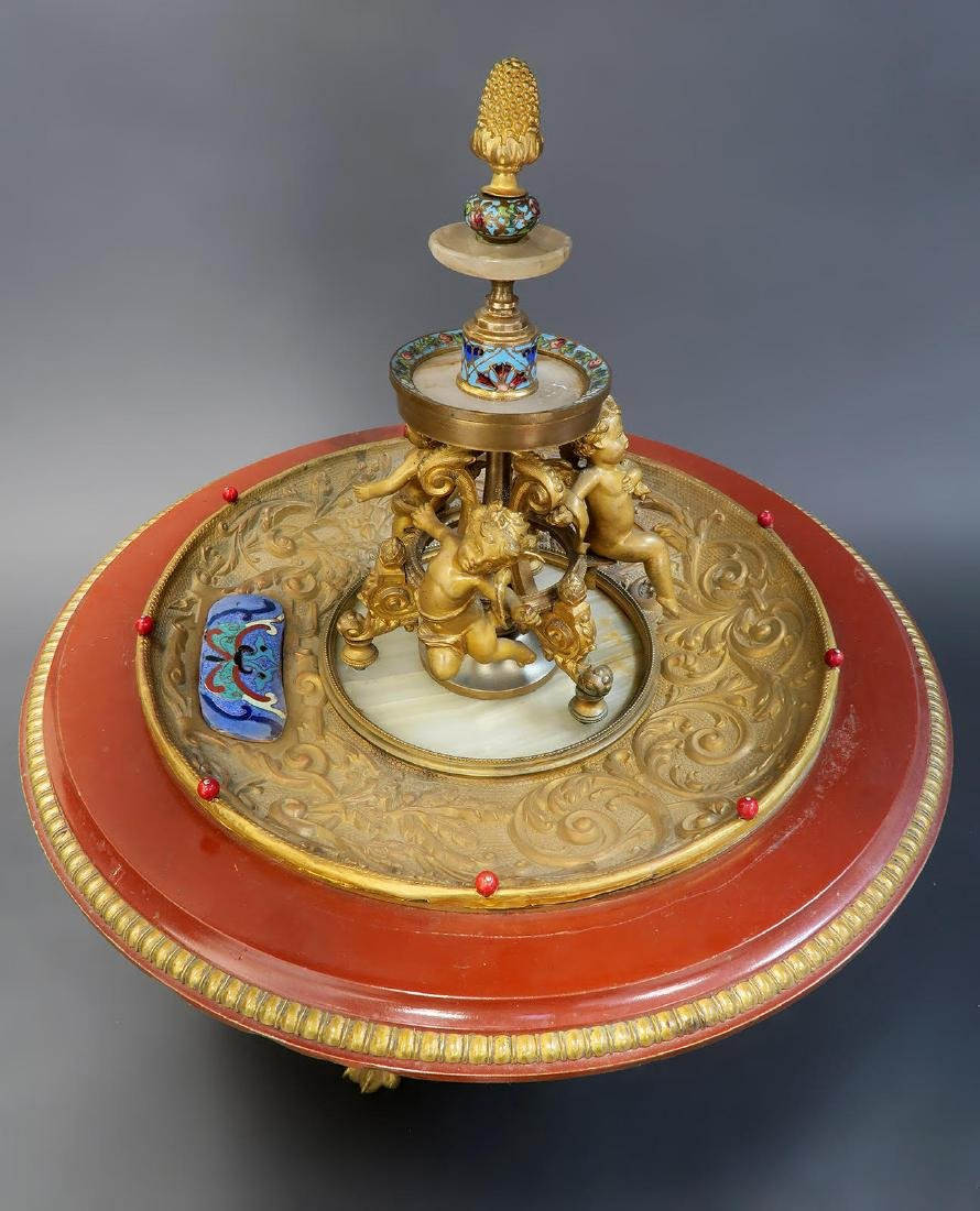 19th C. French Enamel Bronze figural Centerpiece - 5