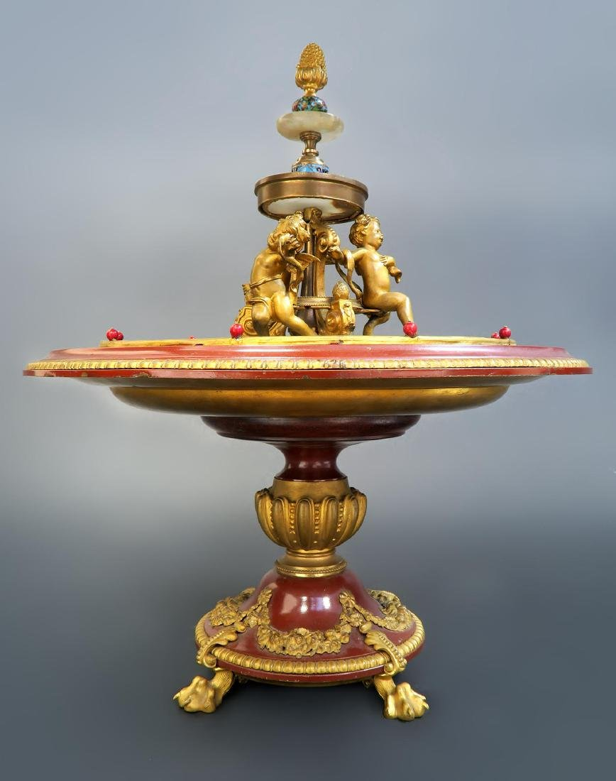 19th C. French Enamel Bronze figural Centerpiece - 7