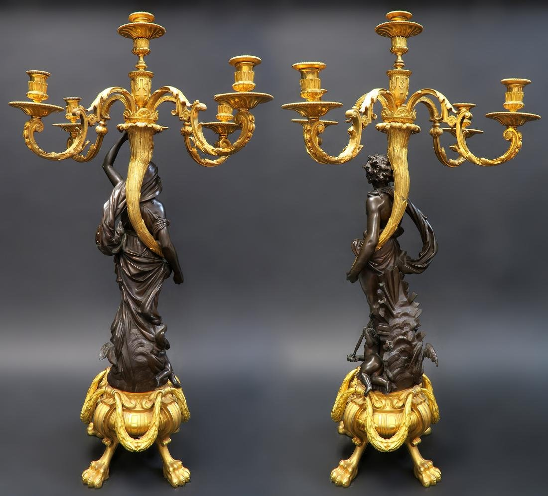 Monumental French Figural Bronze Clock Set - 4