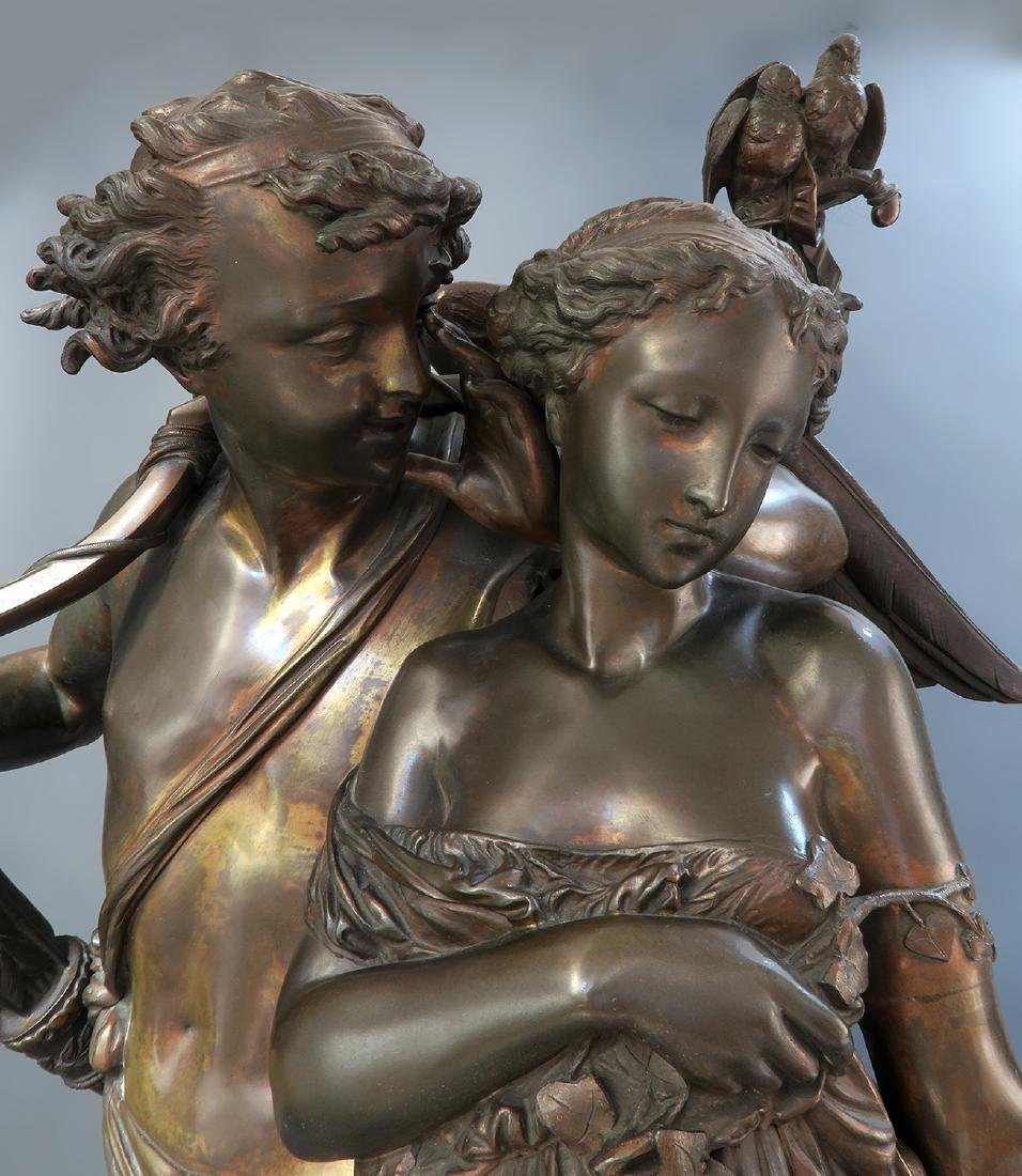 Monumental French Figural Bronze Clock Set - 6