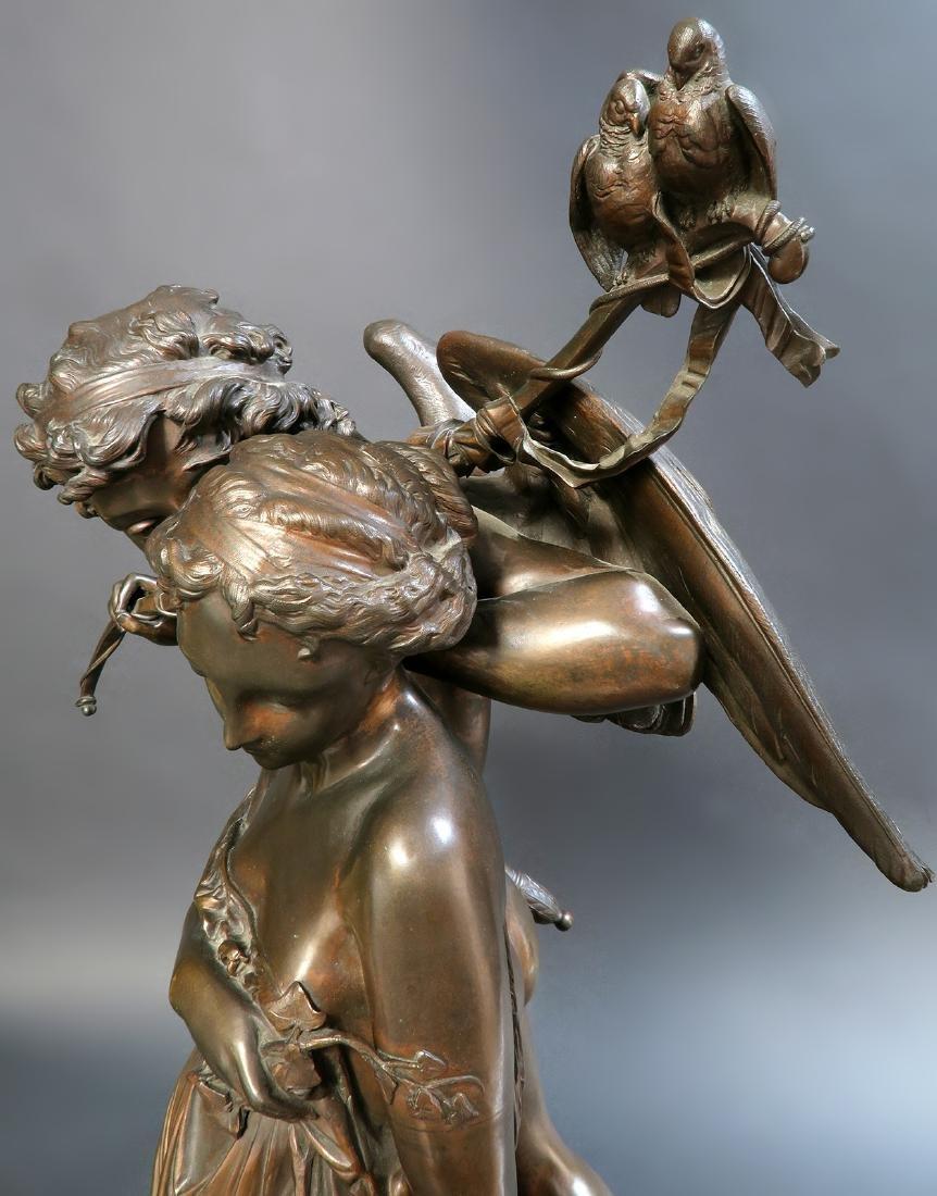 Monumental French Figural Bronze Clock Set - 7