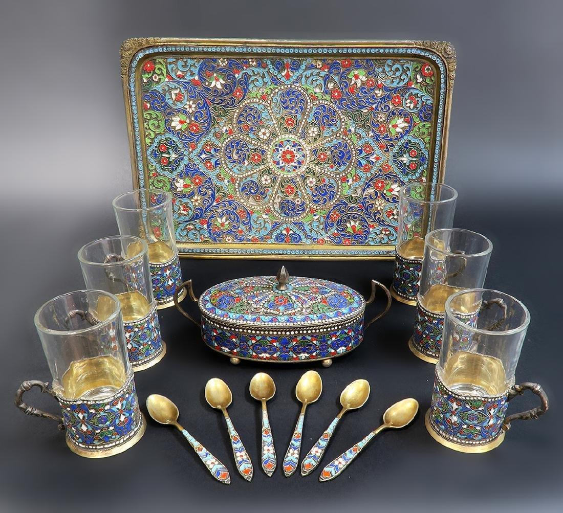 Russian/Persian Enamel & Silver Tea Set