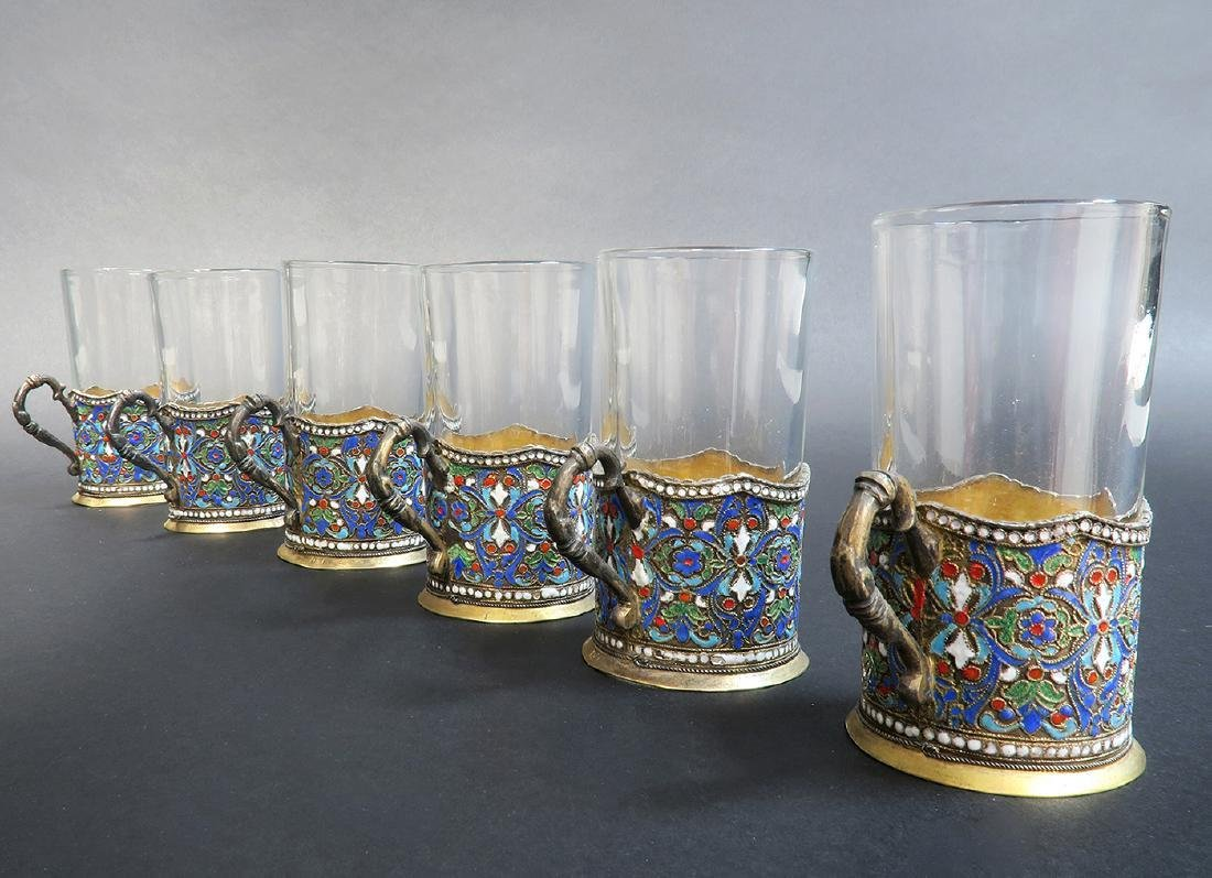 Russian/Persian Enamel & Silver Tea Set - 2