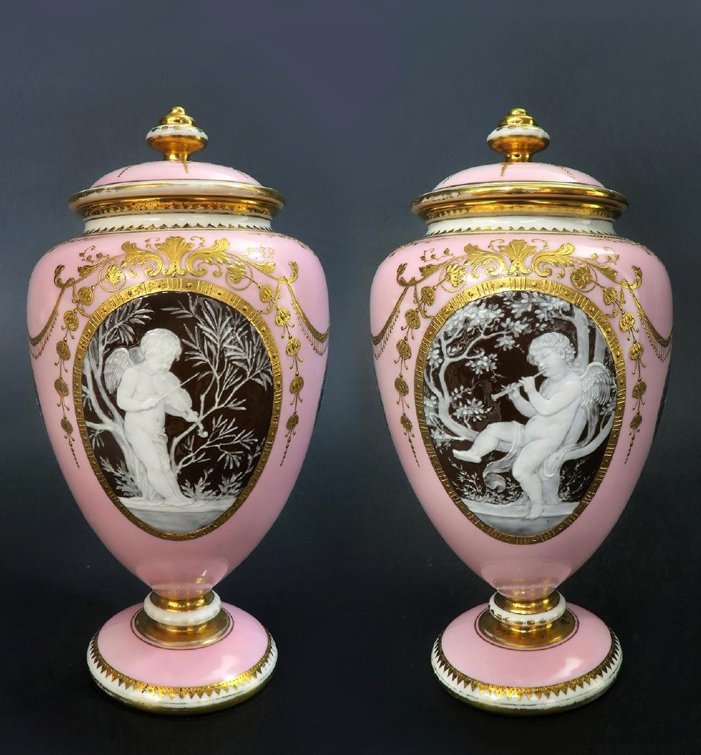 A Pair of Albion Birks Mintons Pate Sur Pate Vases