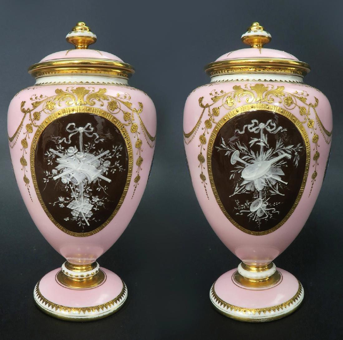 A Pair of Albion Birks Mintons Pate Sur Pate Vases - 4
