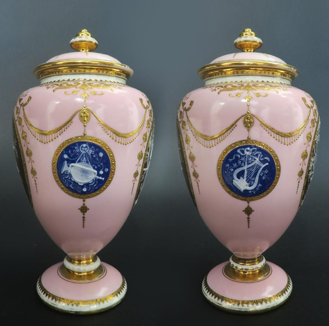 A Pair of Albion Birks Mintons Pate Sur Pate Vases - 7